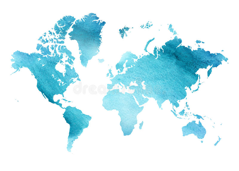 Illustrated blue watercolor map of the world with a isolated background. vector illustration