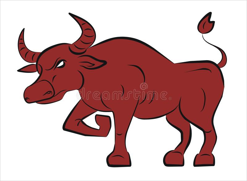 Illustrated bull vector illustration