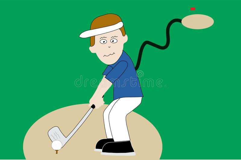 Golfer on tee on golf course. Illustrated cartoon man driving golf ball off tee box on golf course vector illustration