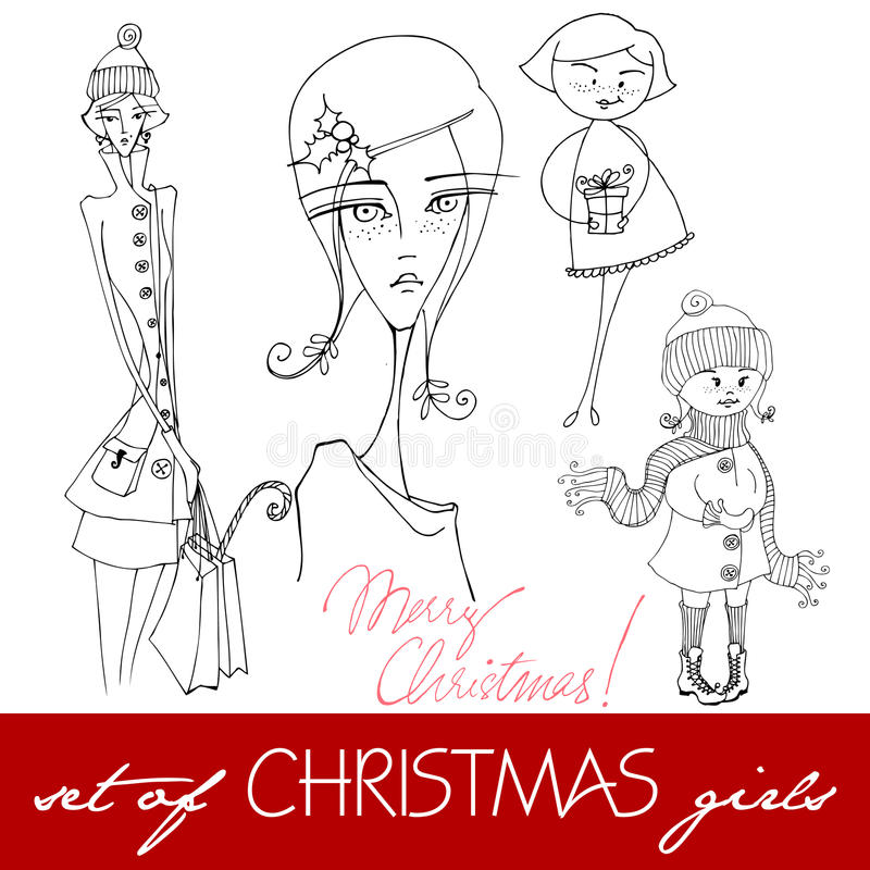 Download Illustrated Christmas Girls Stock Vector - Image: 21689685