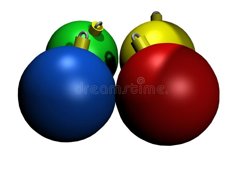 Illustrated Colored Glass Christmas Ornaments royalty free stock photo
