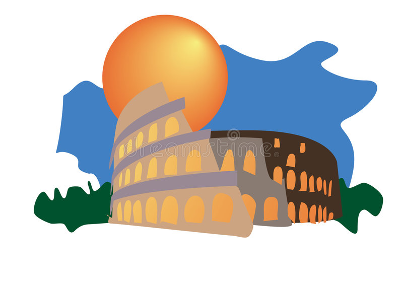 Download Illustrated Colosseum stock vector. Illustration of colour - 8947454