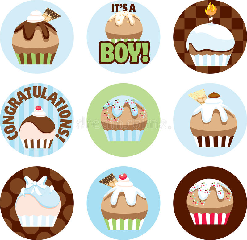 Download Illustrated Cupcake Circles For Boys Stock Illustration - Image: 21271453