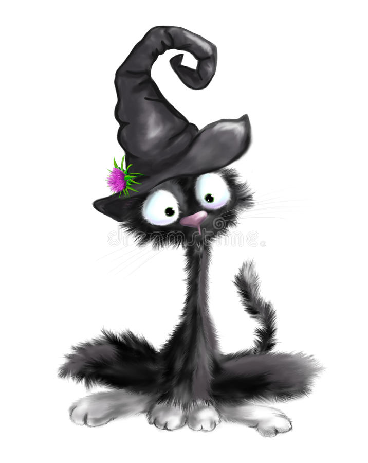 illustrated cute black cat with witch hat on halloween