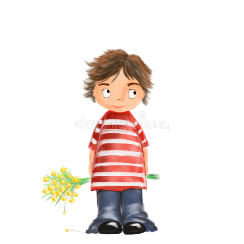 Illustrated cute boy with flowers stock photo