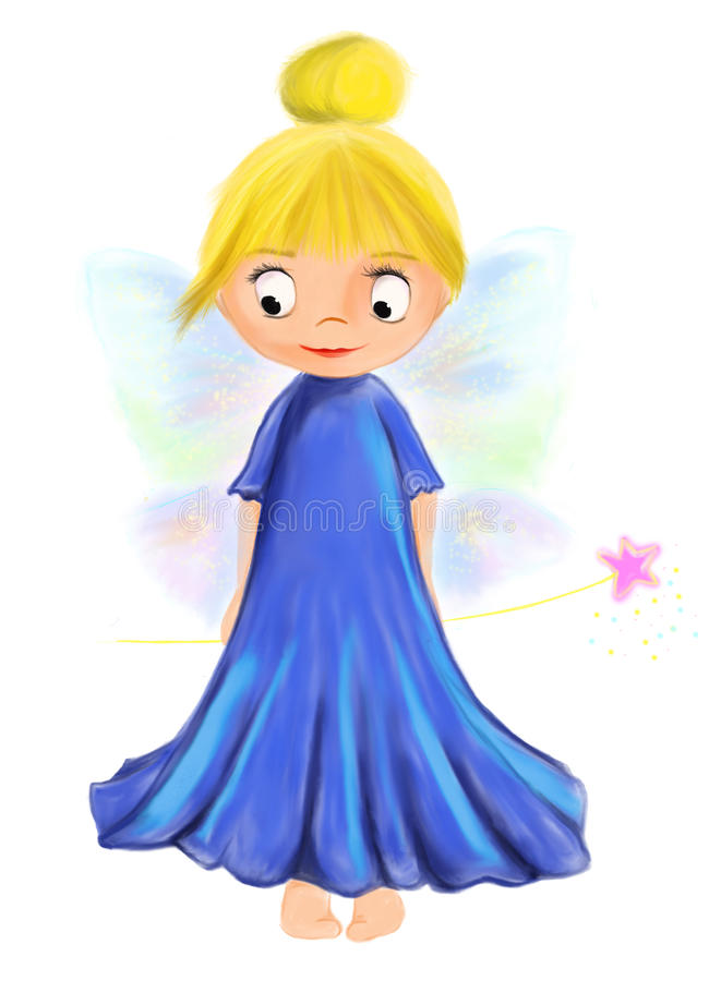 Illustrated cute fairy girl with blue dress and wings stock photos