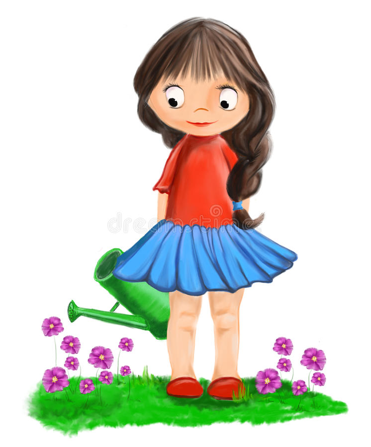 Illustrated cute gardener girl with watering-can stock photography