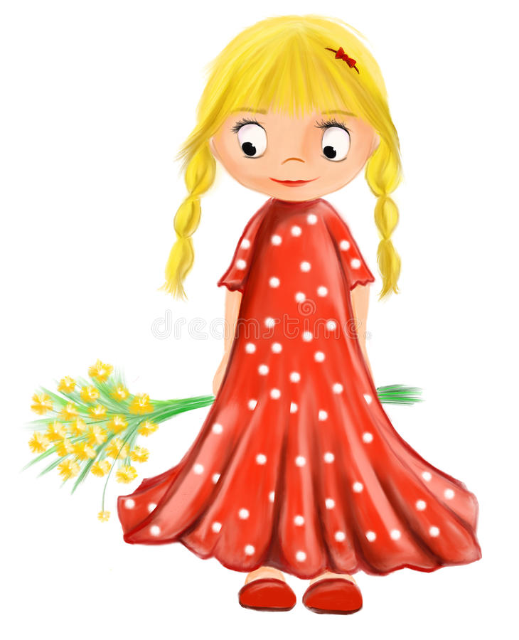 Illustrated cute girl with flowers in red dress with white drops stock image