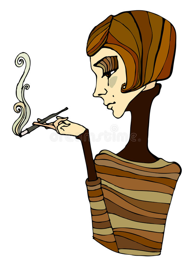 Download Illustrated Cute Smoking Girl Stock Vector - Illustration of nose, personage: 17318076