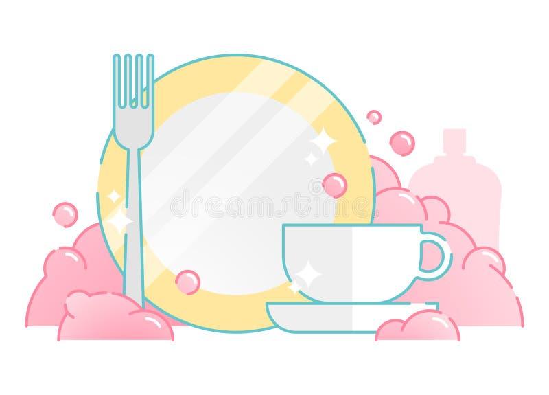 Illustrated Dish Washing Vector Icon vector illustration