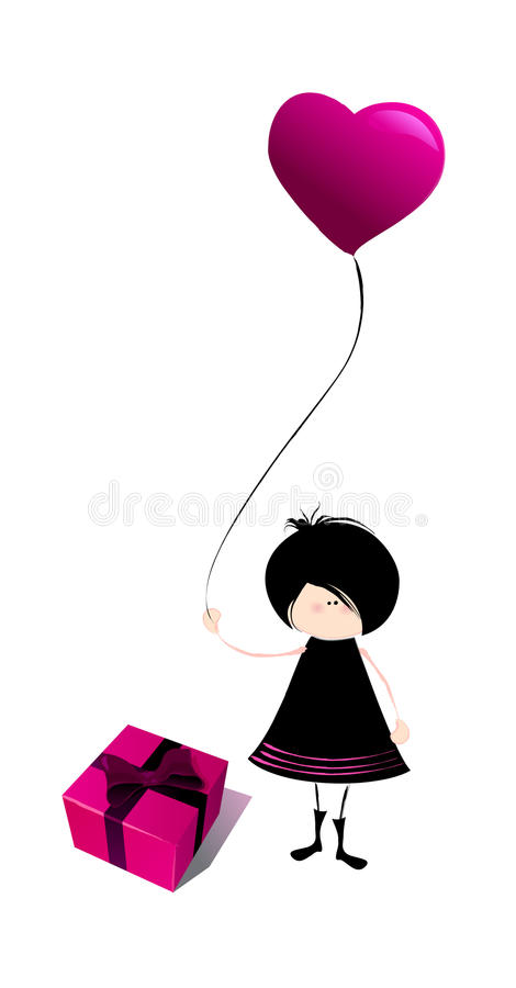 Download Illustrated Emo Girl With Gift Box Stock Illustration - Illustration: 22723771
