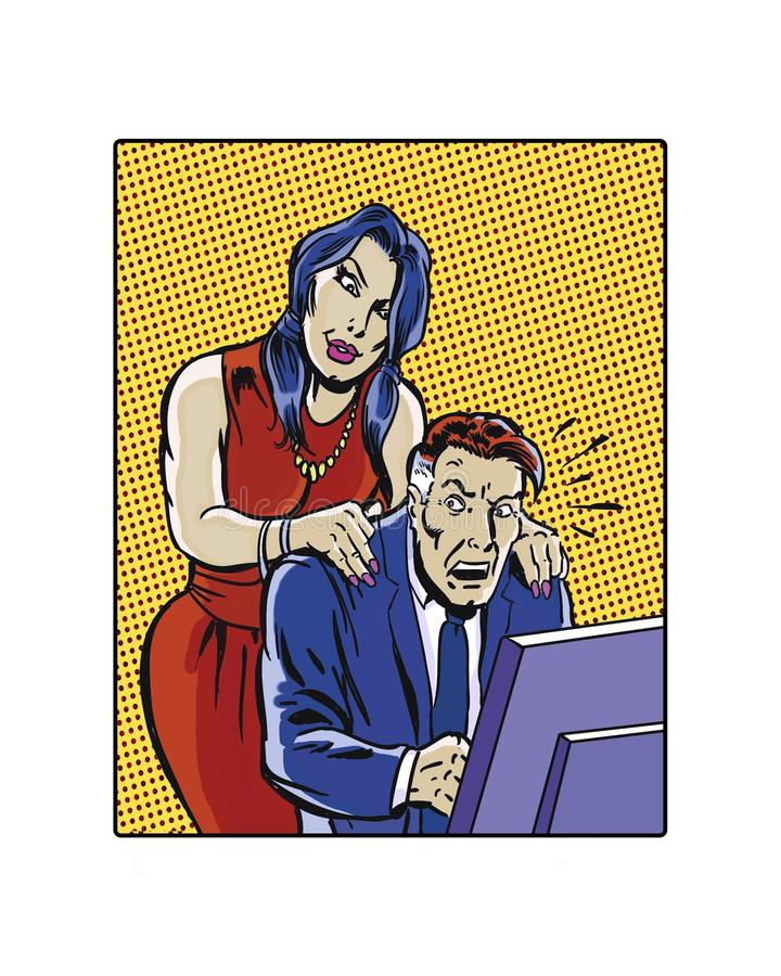 Comic book illustrated female workplace sexual harassment. Illustrated female workplace sexual harassment massaging hands vector illustration