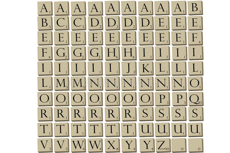 Scrabble game piece tiles. Illustrated game tiles for popular word game Scrabble in 3D royalty free illustration