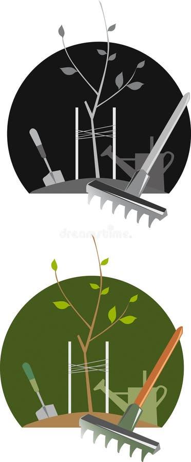 Illustrated gardening scenes vector illustration