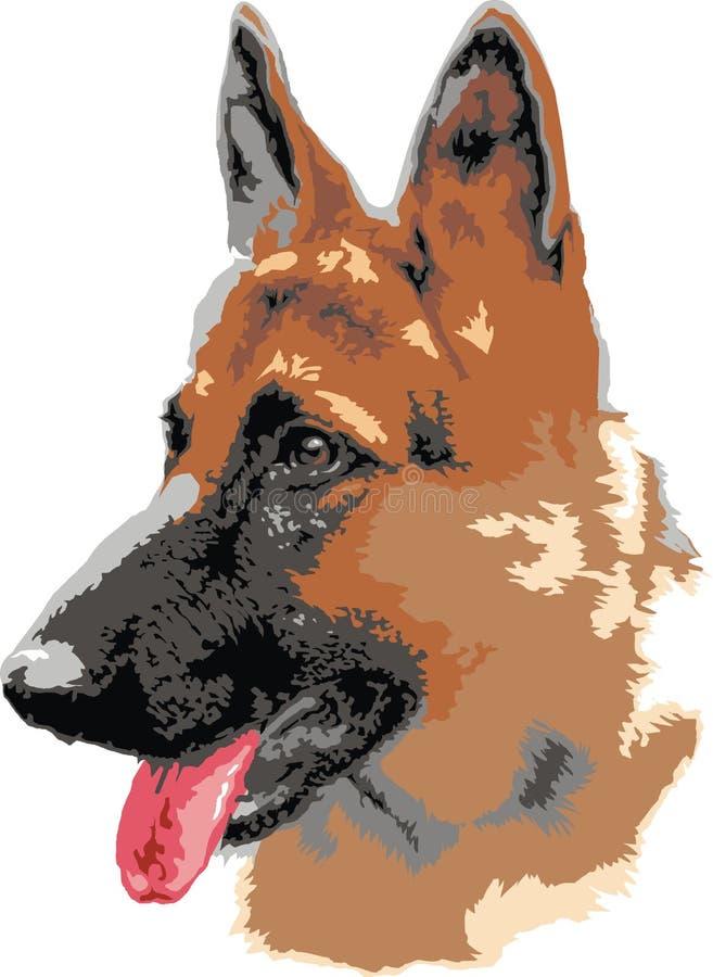 German shepard dog portrait vector illustration