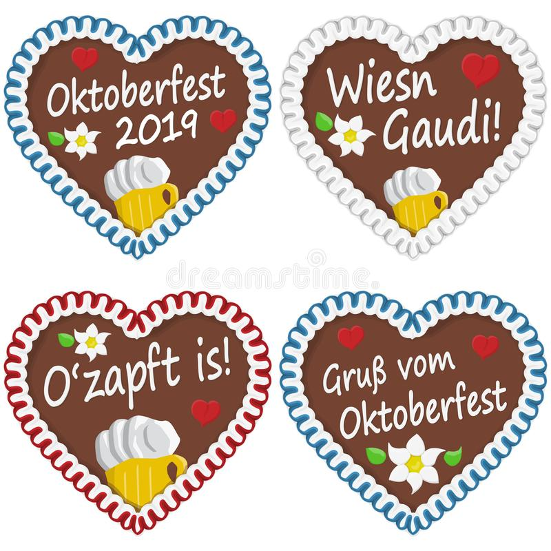 Gingerbread hearts Oktoberfest 2019 2020. Illustrated gingerbread hearts with text in german for Oktoberfest 2019 2020 time, beer, lettering, headline, ozapft stock illustration