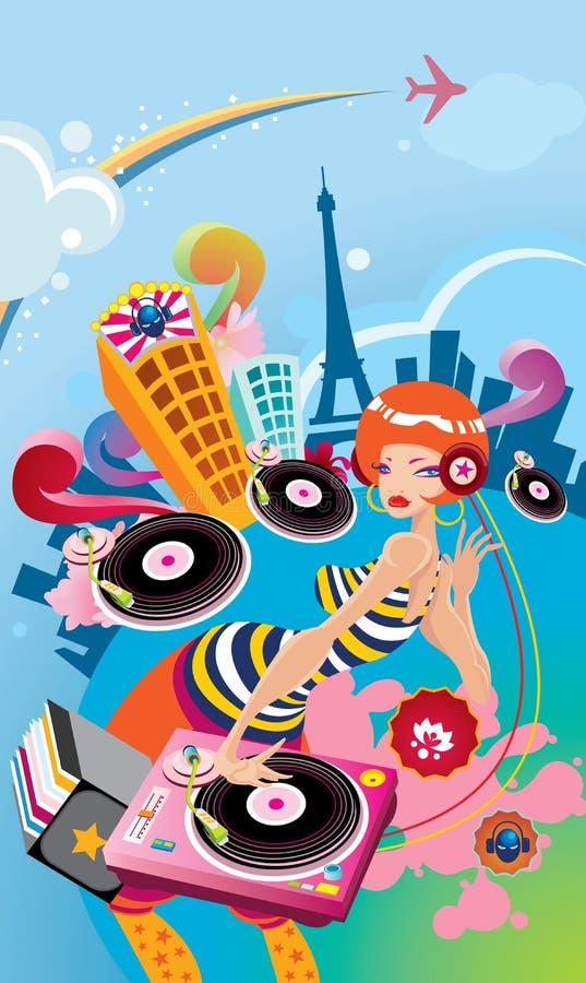 Illustrated girl disk jockey vector illustration