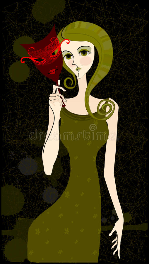 Download Illustrated girl with mask stock illustration. Image of human - 12772095