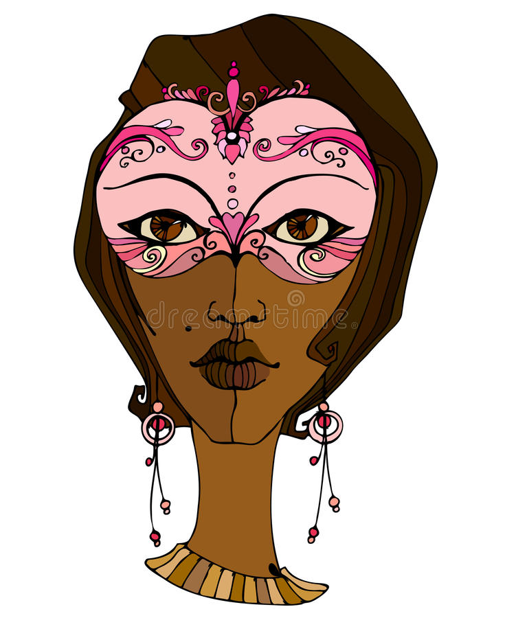 Illustrated Girl With Mask Stock Images