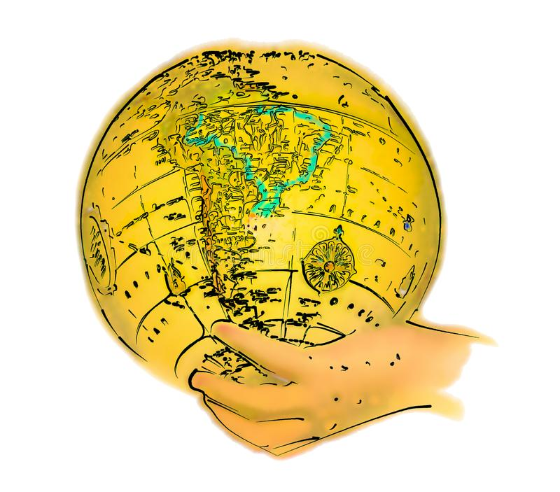 Illustrated Globe in Hand