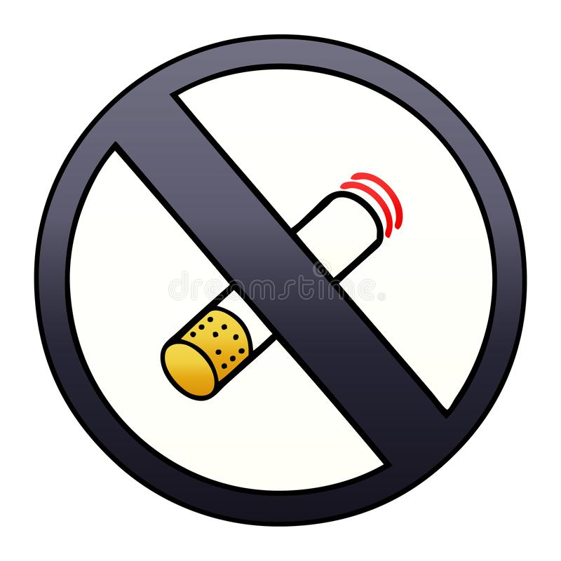 gradient shaded cartoon of a no smoking allowed sign stock illustration