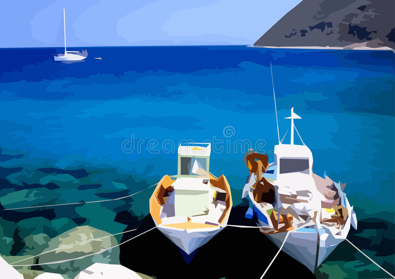 Illustrated Greek fishing boats royalty free illustration