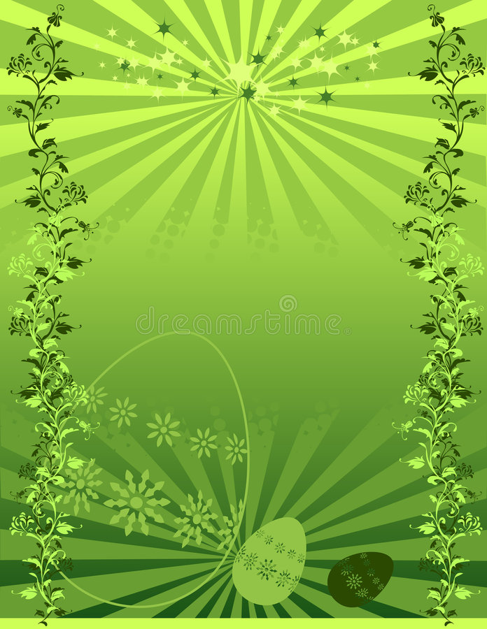 Illustrated Green Floral Background Royalty Free Stock Photo