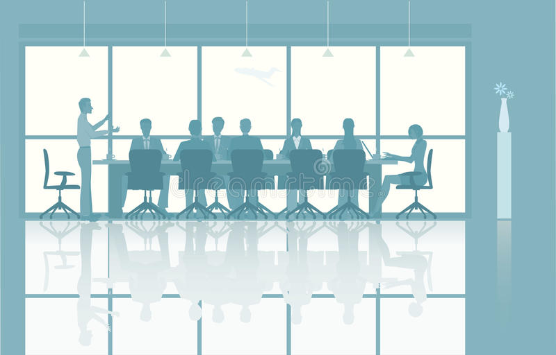 Illustrated group meeting stock illustration