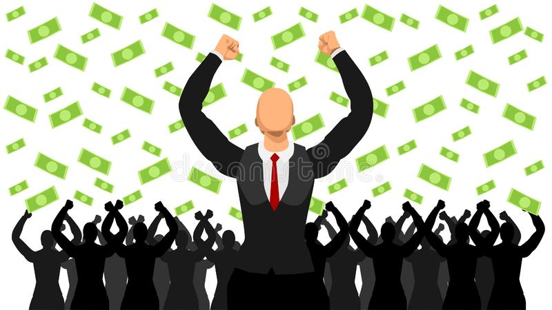 Illustrated leaders celebrate the success of the dollar rain. flat character stock illustration