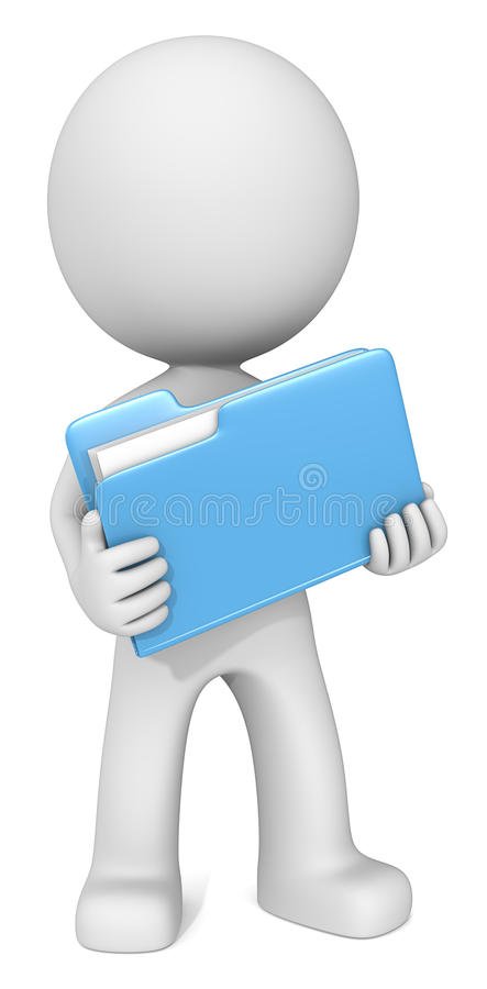 Illustrated man with blue folder royalty free stock image