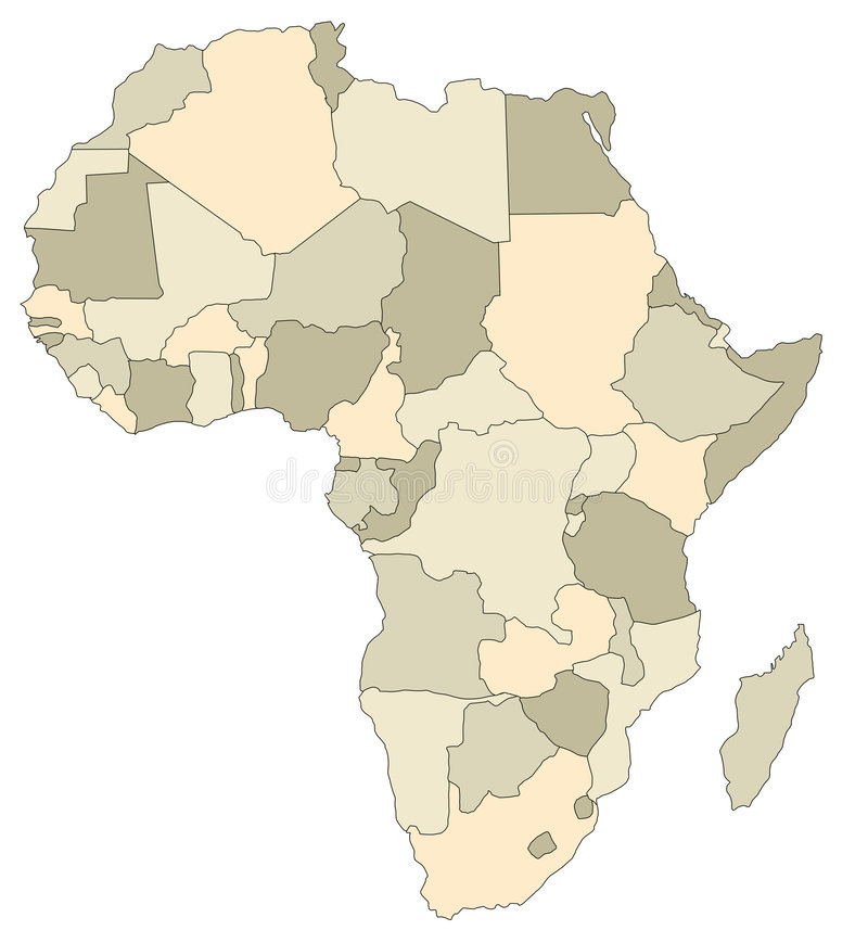 Illustrated Map of Africa stock illustration