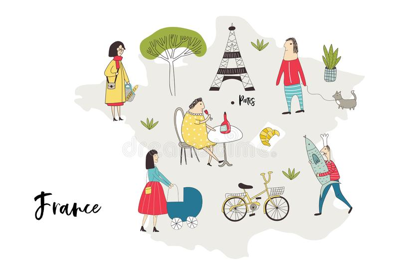 Illustrated Map of France with cute and fun hand drawn characters, plants and elements. Color vector illustration royalty free illustration
