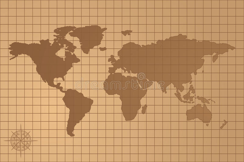 Illustrated map of the world with all continents royalty free illustration