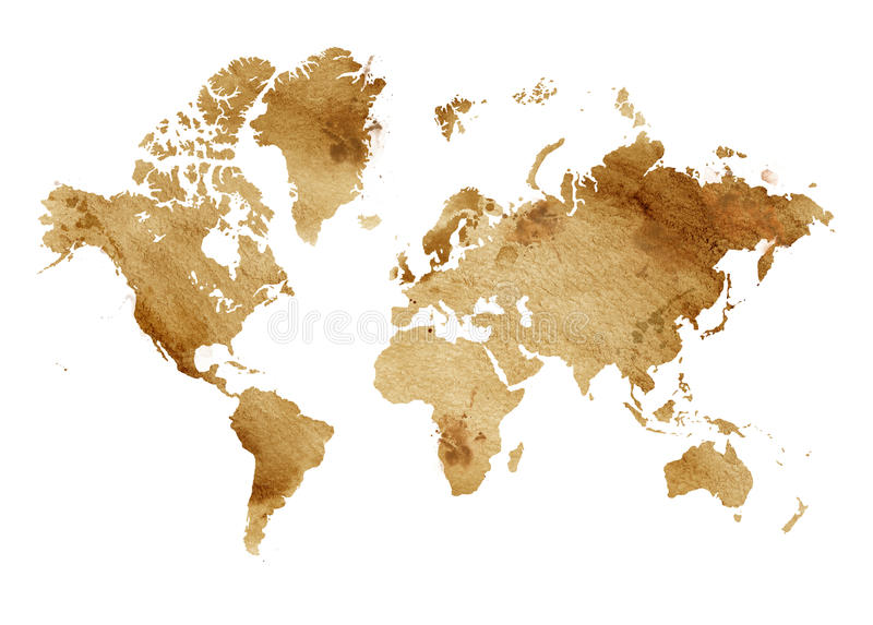 Illustrated map of the world with a isolated background. brown sepia watercolor stock illustration