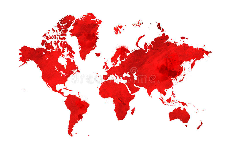 Illustrated map of the world with a isolated background. red watercolor stock illustration