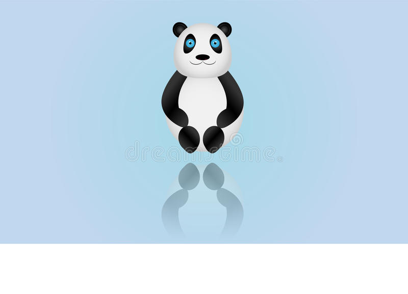 Illustrated panda on colored background vector illustration