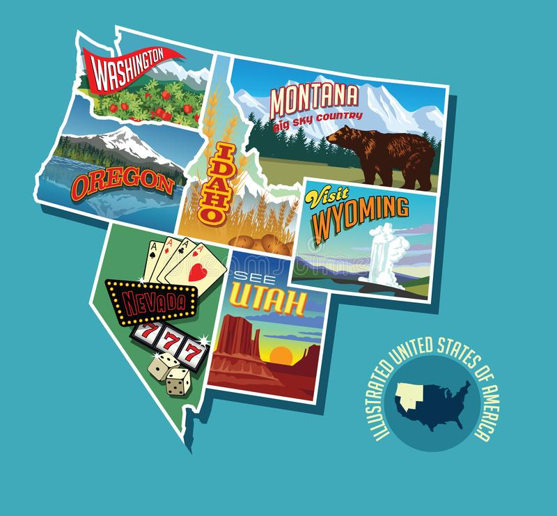 Illustrated pictorial map of Northwest United States. Includes Washington, Oregon, Idaho, Montana, Wyoming, Nevada and Utah. Vector Illustration royalty free illustration