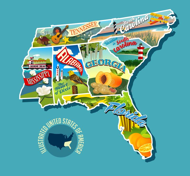 Illustrated pictorial map of Southern United States. Includes Tennessee, Carolinas, Georgia, Florida, Alabama and Mississippi. Vector Illustration stock illustration