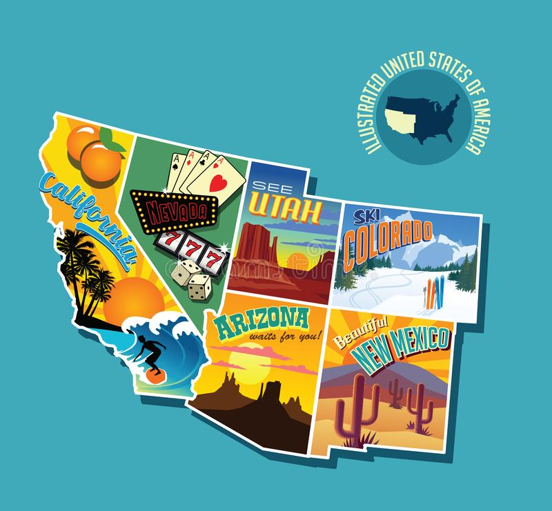 Illustrated pictorial map of Southwest United States. Includes California, Nevada, Utah, Arizona, New Mexico and Colorado. Vector Illustration stock illustration