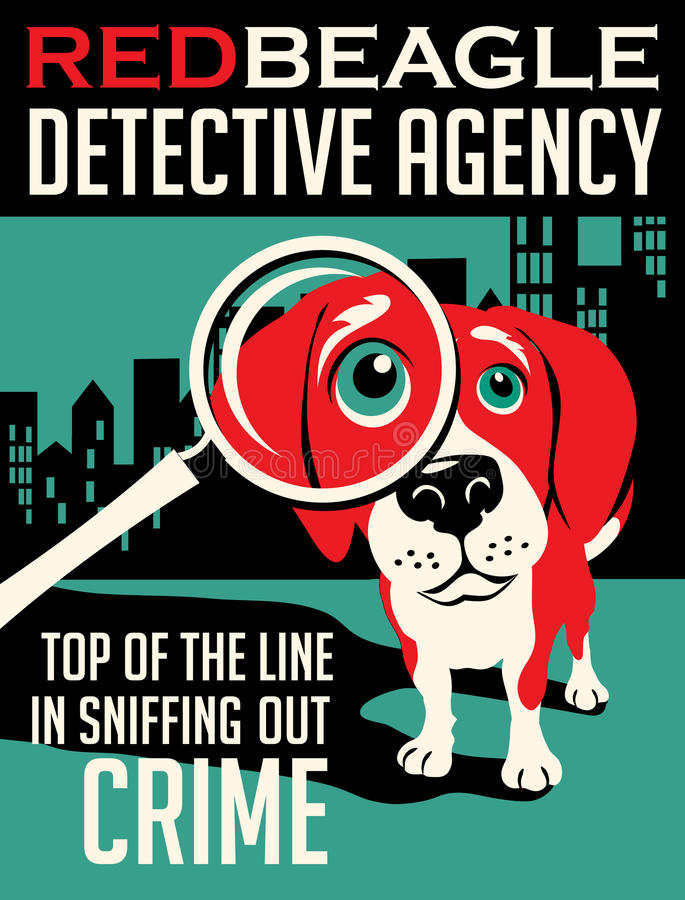Illustrated poster of a Beagle dog. And fictitious detective agency advertisement royalty free illustration