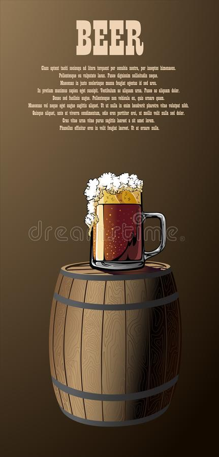 Mug and barrel illustrated poster. Illustrated poster mug and barrel stock illustration