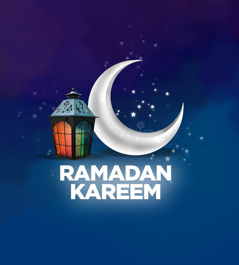 Ramadan Kareem sign. An illustrated Ramadan Kareem sign with a crescent moon, stars, and a lantern on a dark blue background royalty free illustration
