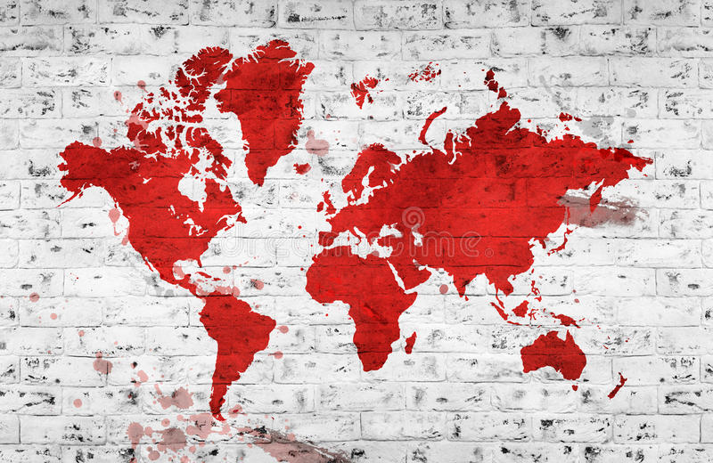 Illustrated red map of the world with a White brick wall. Horizontal background. royalty free illustration