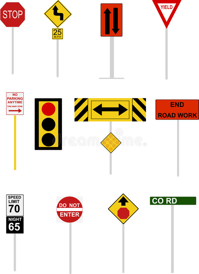 Download Illustrated Road Signs stock vector. Illustration of yellow - 9104715