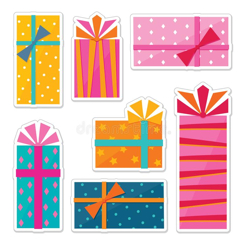 Series of sticker designs - illustrations of gift wrapped presents vector illustration