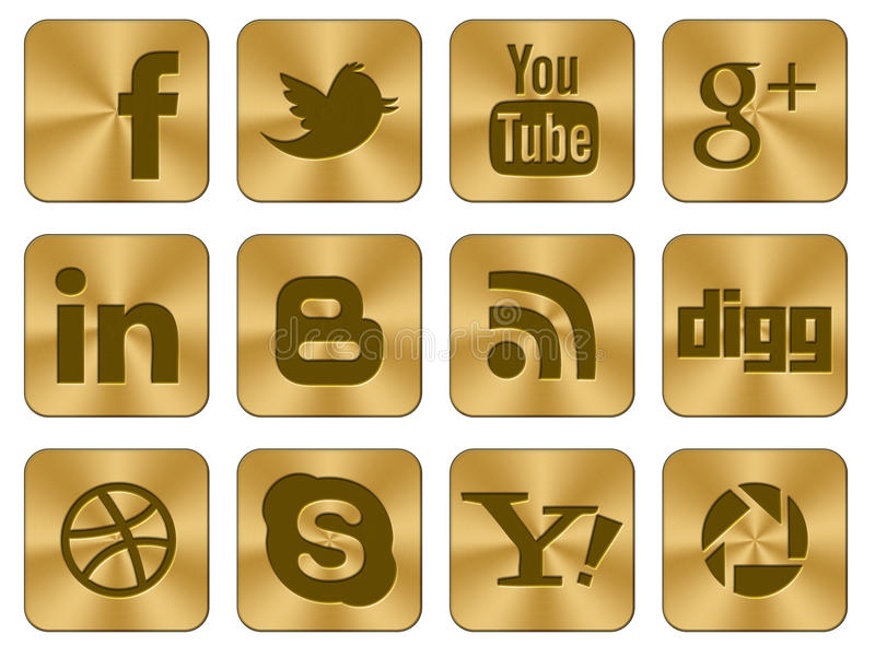 Golden icons Social set. An illustrated set of 12 large social gold icons set for web, facebook, twitter and other industries royalty free illustration