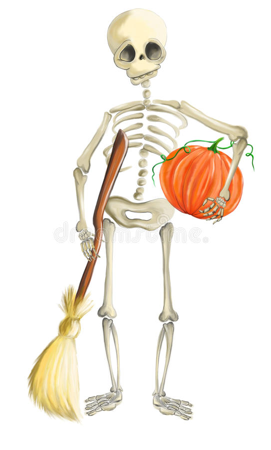 Illustrated skeleton with pumpkin and whisk Halloween stock photos