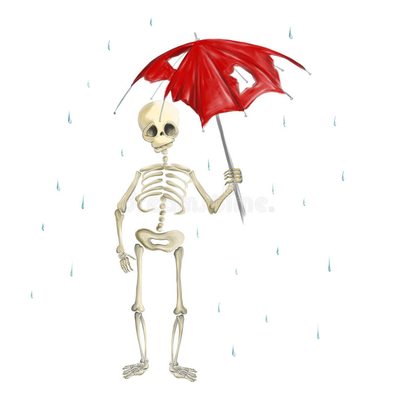 Illustrated skeleton in rain with break umbrella Halloween stock illustration