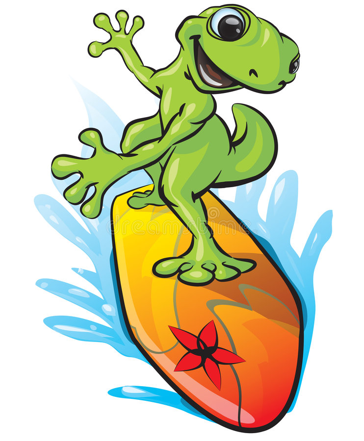 Download Illustrated surfing frog stock vector. Image of enjoying - 5230706