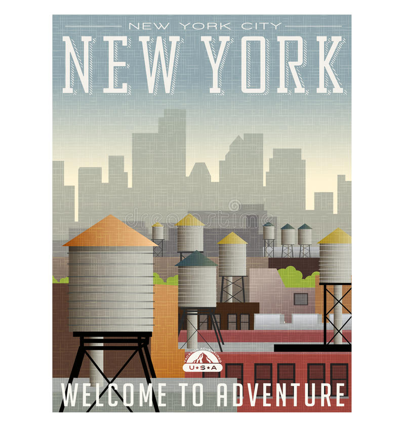 Illustrated travel poster or sticker for New York. Water towers on roof tops of buildings with skyscrapers in the distance royalty free illustration